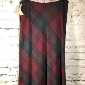 NWT Vtg Ralph Lauren Tartan Long 100% Wool Skirt